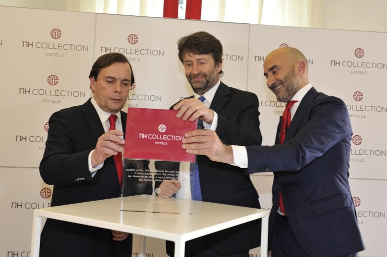Federico J. González Tejera,  CEO of NH Hotel Group;  Dario Franceschini, Ministry of Cultural Heritage and Activities and Tourism; Chema Basterrechea, Managing Director of NH Hotel Group in Italy